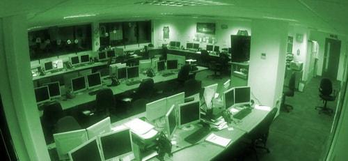 Съемка камеры видеонаблюдения в офисе в ночном режиме